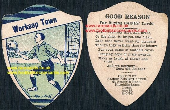 1916 Worksop Town poetry rhyme Baines card